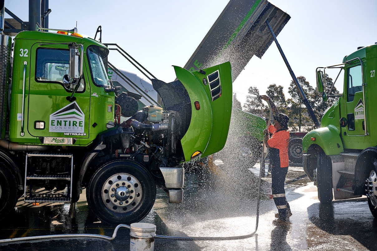 Cleaning Concrete Truck